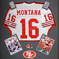 3d object framing at the framers workshop berkeley ca framed joe montana sports jersey and memorabilia solutioingenieria Choice Image