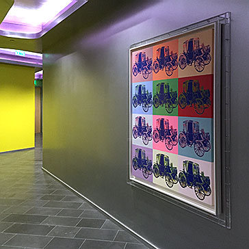 andy warhol merceds benz protective acrylic box frame installatioin view right