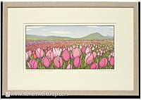 Yoshiko Yamamoto's Tulip Field Morning, Framed