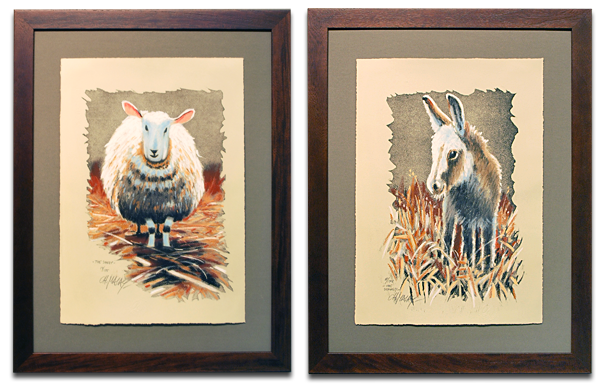 _Sheep_ _ _Donkey_ by Christa Malay signed and numbered Gicl_e