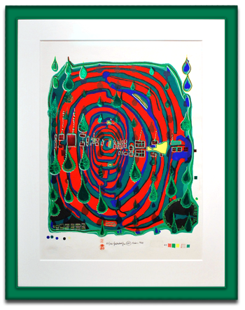 Frame of the Month, signed Hundertwasser print ina Prisma frame.