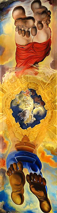 Salvador Dal�. Teatro Y Museu Dali In Figueres. Ceiling of the Hall of Winds, Ascent of Salvador and Gala into Heaven. Fresco, Dali Museum, Figures, Spain.