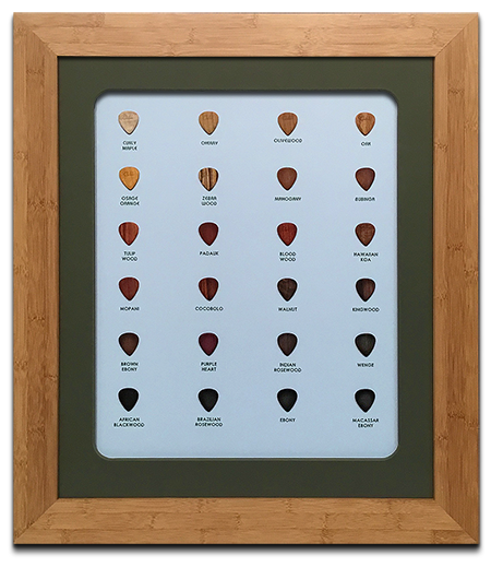 Framed Wood Guitar Pick Collection