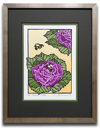Yoshiko Yamamoto_s Kale Flower framed in a double mat