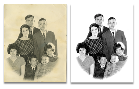 Restored Black _ White Family Photo