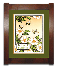 Tea Blossoms _Fern Mat _ Dard Hunter Frame_
