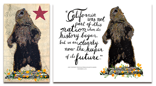 Three Fish Studios California Rising Print and California Keeper Post Cards