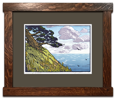 Yoshiko Yamamoto_s Cypress at point Reyes in a Dard Hunter oak frame