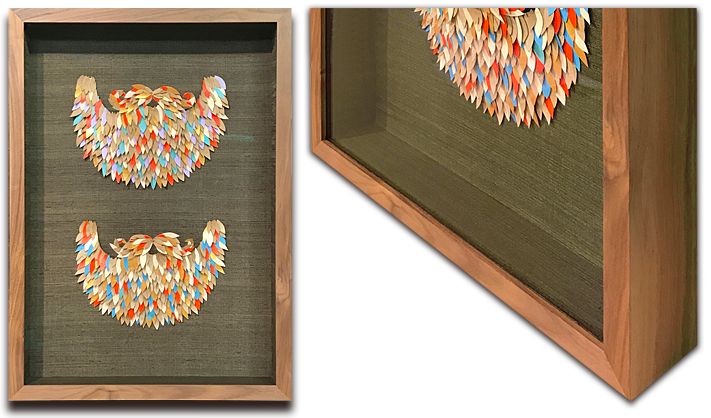 Two Paper Collage Beards Floated in a Silk Backed Box Frame