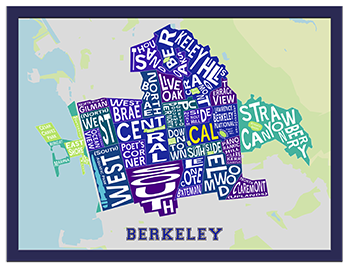 Collegiate Color Berkeley Neighborhood Map in a Blue Frame