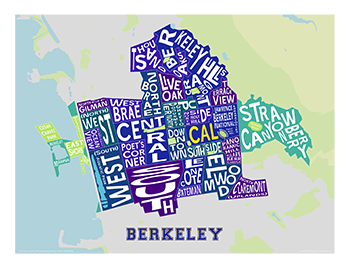 Berkeley Neighborhood Map in Collegiate Colors