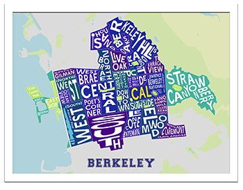 Collegiate Color Berkeley Neighborhood Map in a White Frame