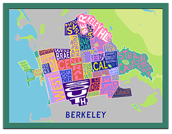 Kaleidoscope Color Berkeley Neighborhood Map in a Green Frame