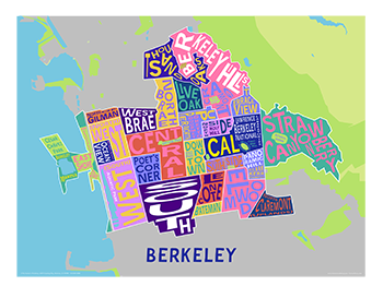 Berkeley Neighborhood Map in Kaleidoscopic Colors