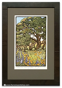 Only one left_ Yoshiko Yamamoto_s _Sumemr Oaks Morning._ Sold framed only.
