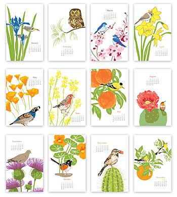 2016 Garden of Birds wall calendar by Rigel Stumiller