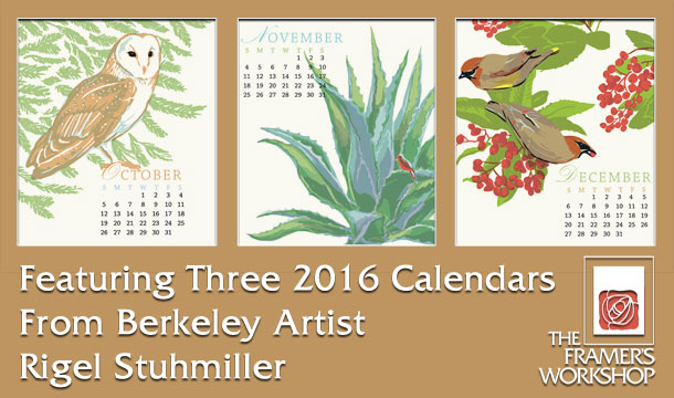 2016 Letterpress Calendar from Berkeley artist RIgel Stuhmiller