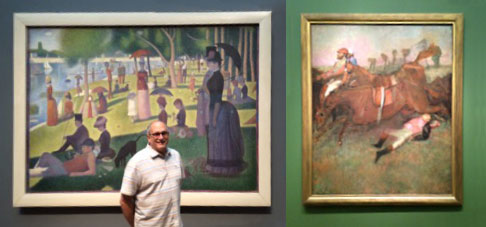 Left, Jeff in front of Seurat's A Sunday Afternoon on the Island of La Grande Jatte and, right, Degas' Scene from the Steeplechase: The Fallen Jockey, Scene from the Steeplechase: The Fallen Jockey.
