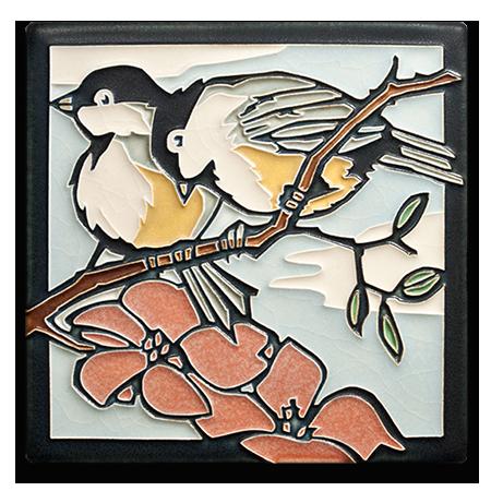 Motawi Tile Spring Chickadees by Yoshiko Yamamoto
