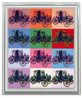 Original Andy Warhol _Mercedes_ on canvas in a protective_ Optium Museum Acrylic Box