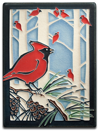 Yoshiko Yamamoto Motawi Tile for December Winter Cardinals_.