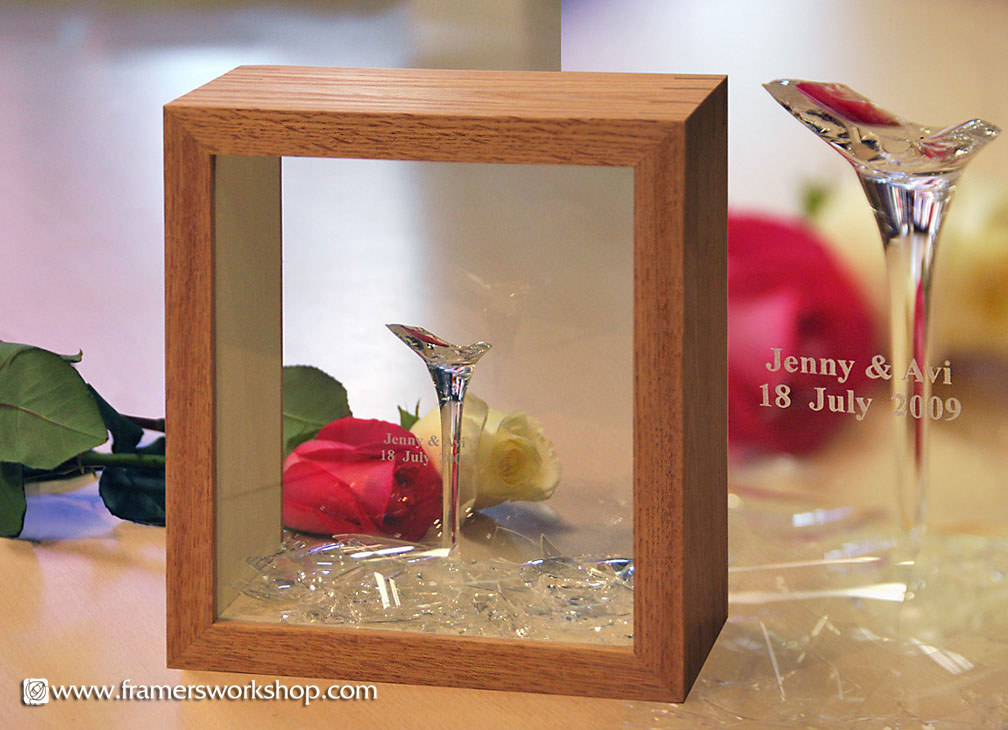 for the anniversary the broken wine glass was framed in two sided oak box frame