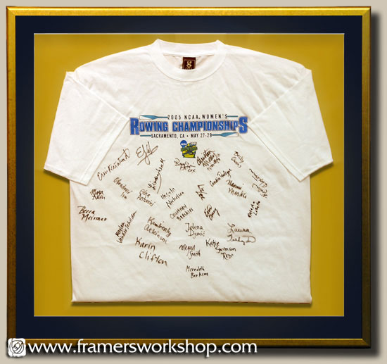 signed cal womens crew t shirt framed