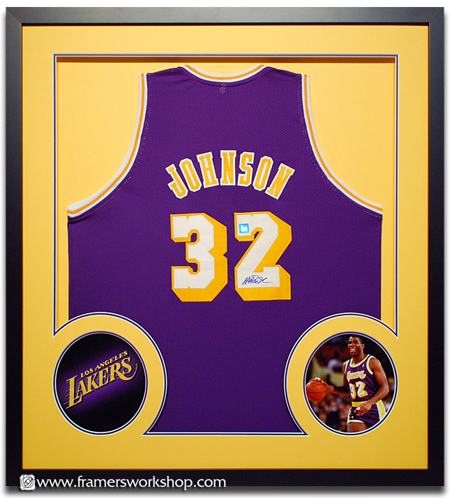 framed basketball jersey lakers johnson