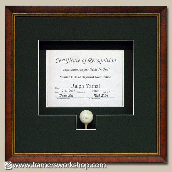 The Framer\'s Workshop, Berkeley, CA Framed Golfing Memorabilia Example
