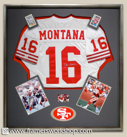 Joe Montana signed football framed jersey