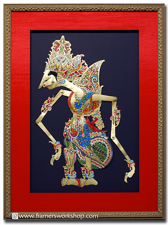 Framed Balinese Shadow Puppet