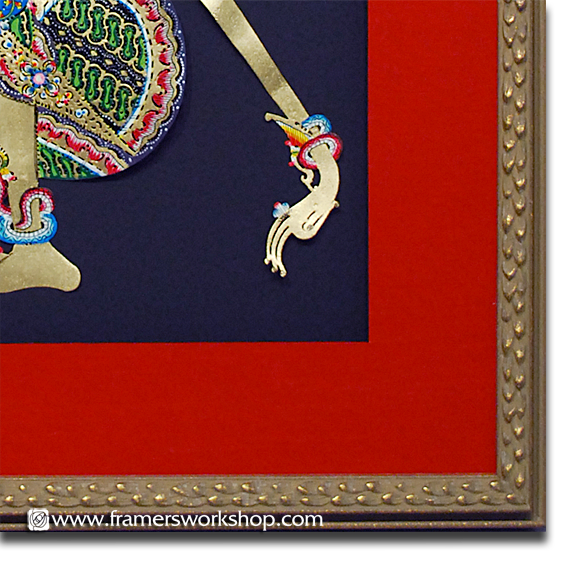 Framed Balinese Shadow Puppet Detail