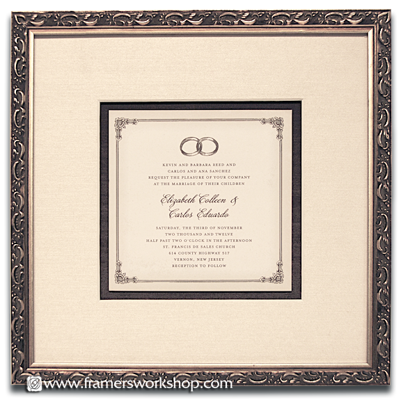 Celebration framing at the framers workshop berkeley ca 94704 the wedding invitation to above was matted with a silk covered mat floated on a dark chocolat acid free mat and framed with a detailed silver frame stopboris Choice Image