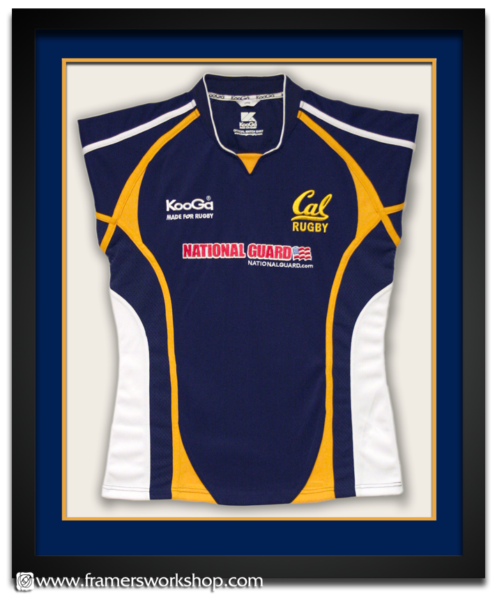 The framers workshop berkeley ca sports jersey framing cal rugby jersey this cal rugby jersey was brought to us for rush framing we framed it using our jersey special package with double acid free matting in cal solutioingenieria Choice Image