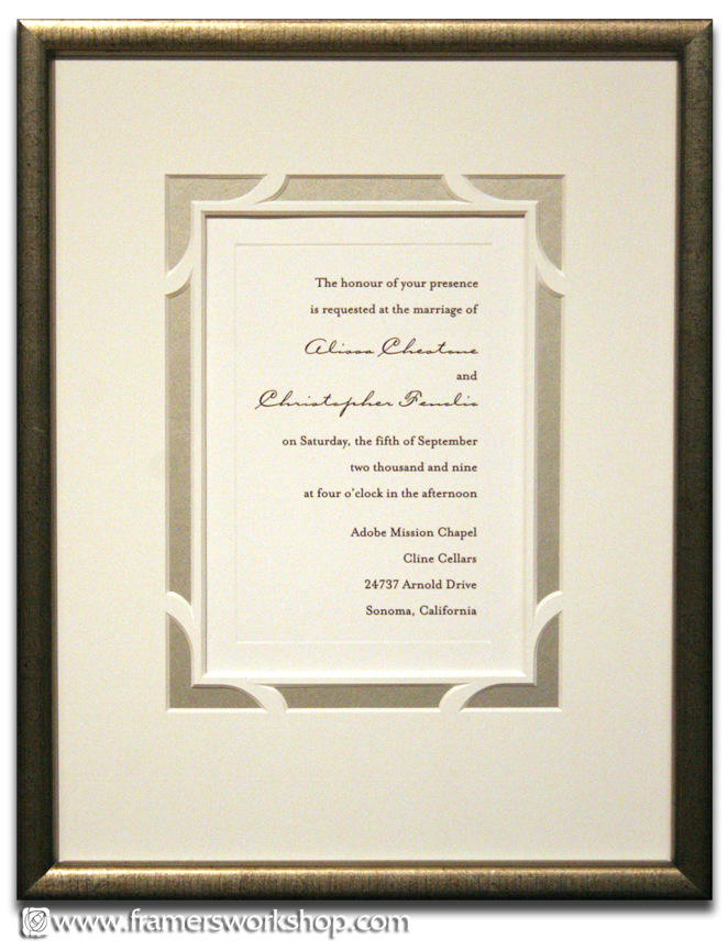 See our Celebrations page for more framed wedding invitation examples