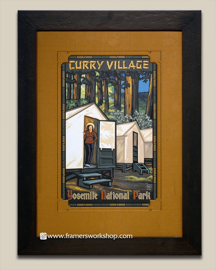 Paul lanquist multnomah falls poster at the framers workshop we framed this poster with a raw silk hand wrapped mat with specially cut corners along with a cross hatch style black and gold frame solutioingenieria Images
