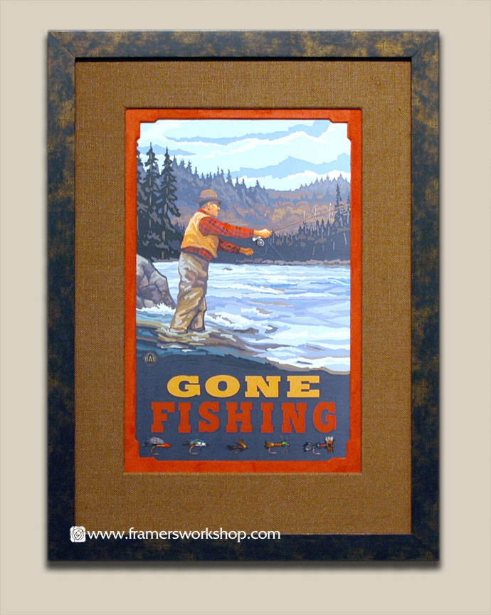 Paul lanquist gone fishing poster at the framers workshop berkeley we framed this poster using a double hand wrapped fabric mat with specialty cut mat corners the frame is a dark brown distressed pattern with gold solutioingenieria Images