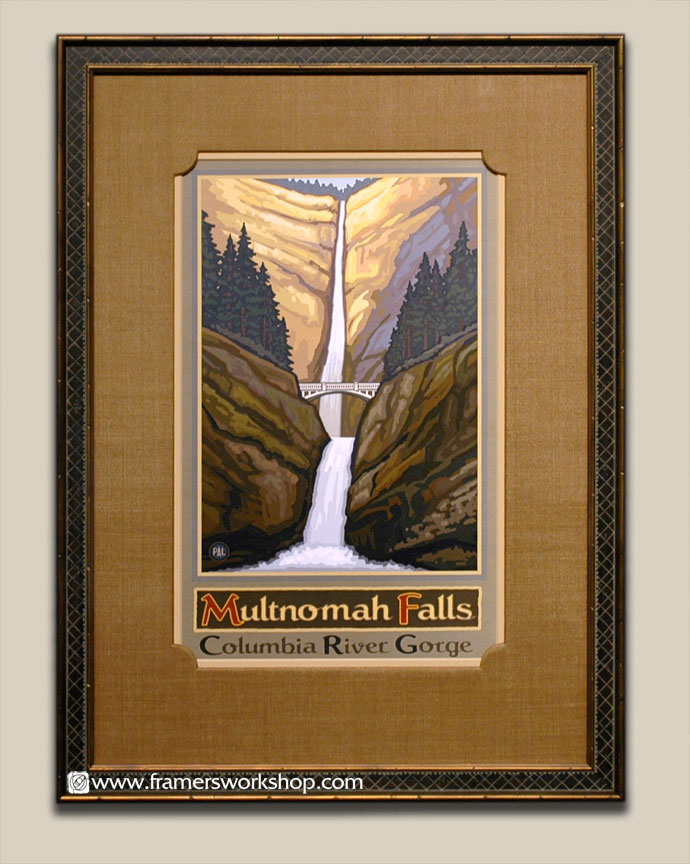 Paul lanquist multnomah falls poster at the framers workshop we framed this poster with a raw silk hand wrapped mat with specially cut corners along with a cross hatch style black and gold frame solutioingenieria Choice Image