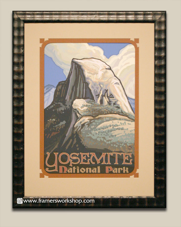 Paul lanquist yosemite national par half dome at the framers we framed this block print style lanquist poster in a double mat with special cut outs and adistressed dark brown frame to bring out the darker solutioingenieria Choice Image