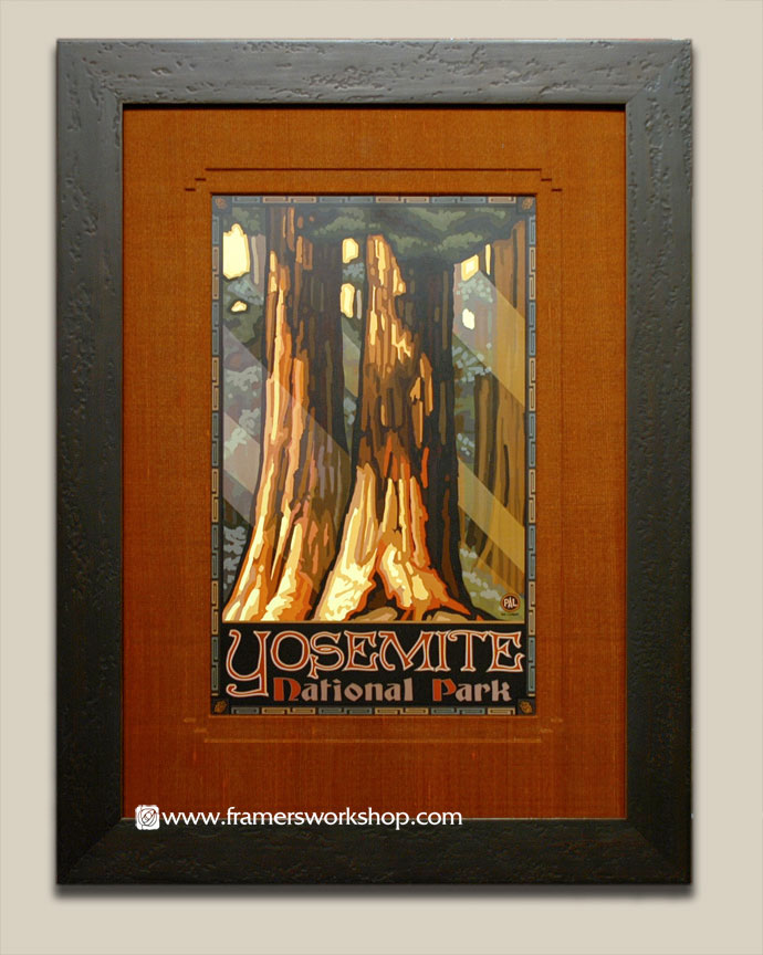 Paul lanquist yosemite national park poster at the framers workshop this view of yosemite with an embossed silk covered mat using a waterfall style we framed this handsome poster using a distressed dark brown frame solutioingenieria Choice Image