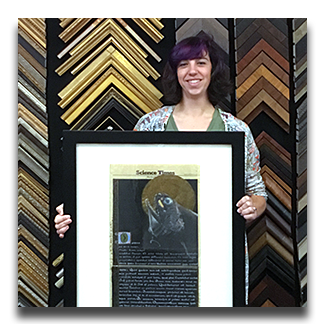 Chloe Castro with her  framed piece _Saint_