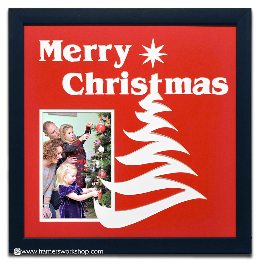 Merry Christmas Pre Cut Photo Name Mat At The Framers Workshop